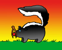 Something Smells. A skunk finds a creative solution. Art marker with digital color Royalty Free Stock Images