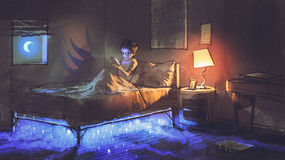 Something under the bed. Boy reading tablet in bedroom and something under the bed,illustration painting Stock Photo
