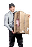 Something went wrong. Delivery man and broken parcel Royalty Free Stock Photos