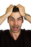 Something went wrong. Young man realises something wrong royalty free stock photography