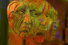 Sometimes carnival masks and costumes are scary. Disturbing masks for nightmares and dreams royalty free stock images