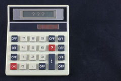 Sometimes the numbers don't add up!. A desk top calculator that offers a very limited set of functions: ON, ?, !, Number Keys and OFF. Even the answer panel is stock images