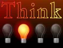 Sometimes one idea is enough. Four light bulbs with one switched on as a concept for thinking leads to the one idea you need royalty free stock photo