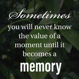 Sometimes you will never know the value of a moment until it becomes a memory. Inspirational and motivational quote about life
