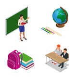 Sometric School lesson. Little students and teacher. Isometric Classroom with green chalkboard, teachers desk, pupils Stock Images