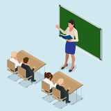 Sometric School lesson. Little students and teacher. Isometric Classroom with green chalkboard, teachers desk, pupils. Tables and chairs. Flat 3d cartoon Royalty Free Stock Images