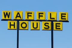 Anderson - Circa April 2018: Somewhat disheveled sign of Iconic southern restaurant chain Waffle House III royalty free stock photography