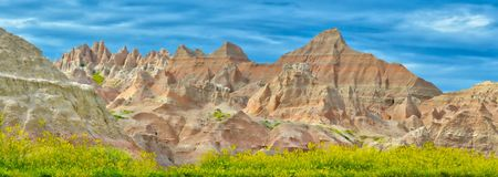 Badlands National Park South Dakota in the Springtime. This somewhat panoramic picture of the amazing eroded rock formations inside the Badlands national park in royalty free stock images