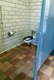A somewhat unclean public toilet in New York City stock images
