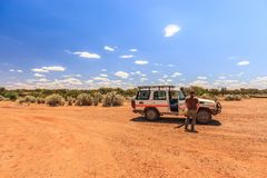 Off road driving with Toyota Land Cruiser through the Outback of South Australia. Somewhere along the Oodnadatta Track, South Australia, Australia, 22 december stock photography