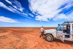 Off road driving with Toyota Land Cruiser through the Outback of South Australia. Somewhere along the Oodnadatta Track in South Australia, Australia, 19 december stock photography