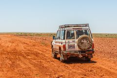 Off road driving with Toyota Land Cruiser through the Outback of South Australia. Somewhere along the Oodnadatta Track in South Australia, Australia, 19 december royalty free stock image
