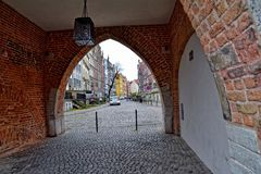 Somewhere in the old town in November Gdańsk. Somewhere in a beautiful old town in November Gdańsk Royalty Free Stock Photo