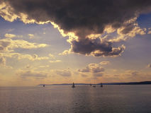 Somewhere below the clouds at Balaton Lake Hungary Stock Images