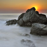Somewhere in the Black Sea. Sunrise on The Black Sea royalty free stock photography