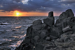 Somewhere in the Black Sea. Sunrise the Black Sea coast stock photo