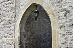 Somewhere in Erfurt, Germany. Entrance of a narrow street in Erfurt, Germany Royalty Free Stock Image