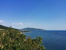 Somewhere between Gelendzhik and Novorossiysk. View from the observation deck at the monument to the Soldier on the Don highway stock photography
