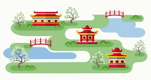 Somewhere In Japan. Cartoon illustration with tranquil Japanese landscape. Abstract map of countryside with pagodas, trees and bridges. Rolling landscape with Stock Images