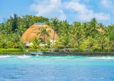 Somewhere in the Maldives. Garden in small island somewhere in the Maldives stock photography