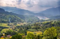 Somewhere in the mountains in Sri Lanka. Mountain landscape in Sri Lanka against a cloudy sky royalty free stock images