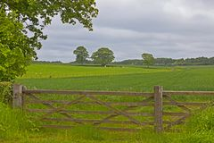 Wooden fence somewhere in England. Somewhere in the north of England. A beautiful landscape stock photography
