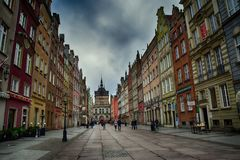Somewhere in the old town in November Gdańsk. Somewhere in a beautiful old town in November Gdańsk Royalty Free Stock Image