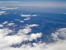 Somewhere over the Alps. View from the airplane window Stock Photography