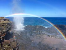 Somewhere over the rainbow. Beautiful dual rainbow at Blowhole, Maui Stock Image