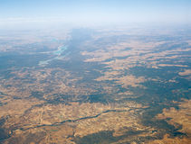 Somewhere over the Spain. View from the airplane window royalty free stock photos