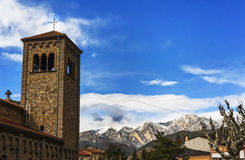 Somewhere in the Pyrenees. Cathedral in the Spanish countryside on a sunny day Royalty Free Stock Images