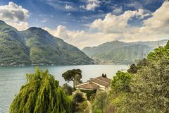 Somewhere in Switzerland. Walking around Lago di Lugano in the spring stock photo