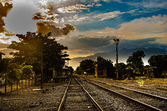 Somewhere in time. Sunset in old train station Royalty Free Stock Images