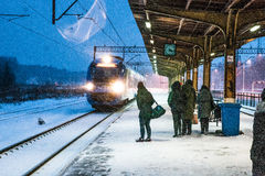 Somewhere in Winter Poland... Winter waiting for train Stock Photos