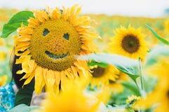 Somewone se cachant derrière le tournesol de sourire images libres de droits