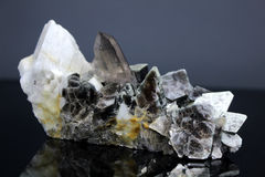 Somky Quartz With Biotite Mica Mineral Specimen. Very Beautiful Combo of biotite Mica with Smoky Quartz and microcline Specimen From Skardu Pakistan Stock Images