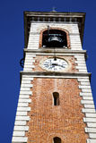 Somma lombardo old abstract in    and church tower bell sunny da Stock Image