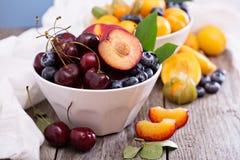 Sommar bär frukt i en bunke royaltyfria foton