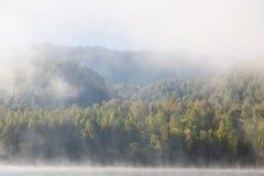 Sommar dimma på floden altaidagar sist bergsommar Royaltyfri Fotografi