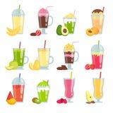 Sommar dricker smoothien Olika bilder av fruktfruktsaft och smoothien stock illustrationer