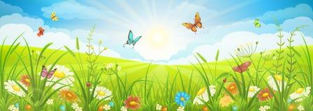 Sommar- eller vårlandskap royaltyfri illustrationer