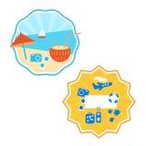 Sommar etikett, logodesign, kulör bakgrund, vektor stock illustrationer