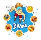 Sommar för dykninghavsstrand Vektor Illustrationer