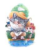 sommar för kattfamiljferie Arkivfoton