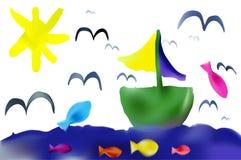 Sommar för vektorbarnteckning Arkivfoton