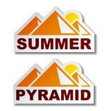 sommar för egypt pyramidetiketter stock illustrationer