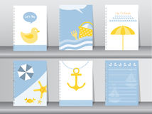 Sommar, ferie, semesteraffischuppsättning, lägenhetdesign, bruk för att hälsa och inbjudankort, vektorillustrationer stock illustrationer