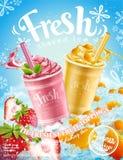 Sommar fryst is rakad affisch stock illustrationer