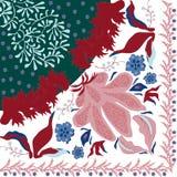 Sommar höstfärger Siden- halsduk med blommande vallmo Arkivfoton