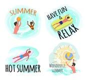 Sommar har gyckel och kopplar av den underbara s?songsj?sidan stock illustrationer